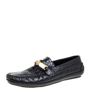 Versace Black Croc Embossed Leather Medusa Loafers Size 45