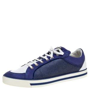 Versace Blue Suede Studded Medusa Low Top Sneakers Size 44.5