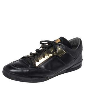 Versace Black Leather Medusa Low Top Sneakers Size 43