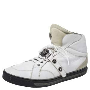 Versace White Leather Medusa High Top Sneakers Size 45