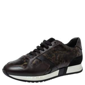 Versace Multicolor Leopard Printed Coated Canvas and Leather Medusa Trainer Sneakers Size 42
