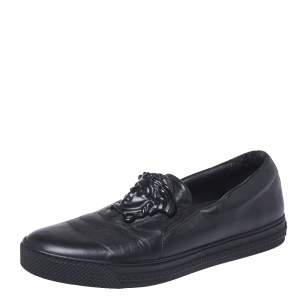 Versace Black Leather Medusa Slip-On Low Top Sneakers Size 40