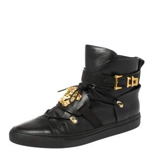 Versace Black Leather Medusa High-Top Sneakers Size 45.5