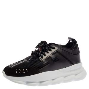 Versace Black Mesh And Leather Chain Reaction Sneakers Size 42