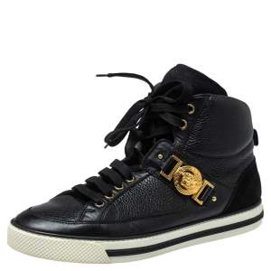 Versace Black Leather And Suede Medusa Strap High Top Sneakers Size 43