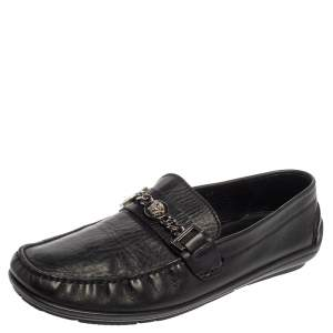 Versace Black Leather Medusa Icon Chain Detail Loafers Size 45