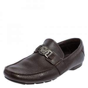 Versace Dark Brown Leather Medusa Embellished Slip On Loafers 41