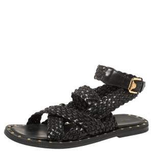 Versace SS21 Black Leather Braided Sandals Size 42