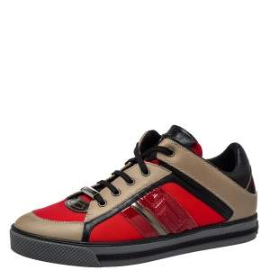 Versace Multicolor Nylon And Leather Low Top Sneakers Size 41