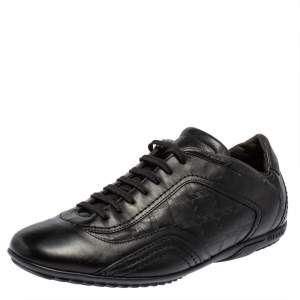 Versace Black Leather Logo Embossed Low Top Sneakers Size 40