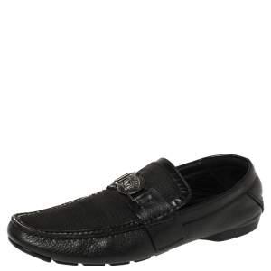 Versace Black Leather Medusa Embellished Slip On Loafers 43