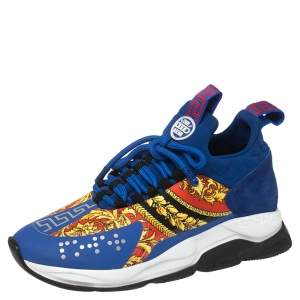 Versace Multicolor Chain Reaction Baroque Print Sneakers Size 41