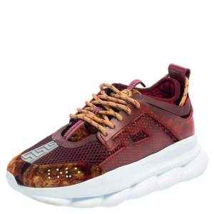 Versace Multicolor Velvet And Mesh Chain Reaction Sneakers Size 41