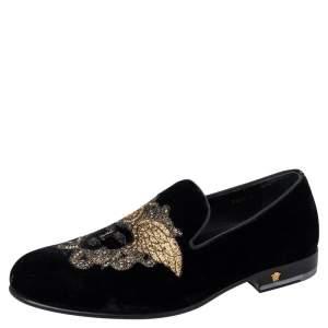 حذاء لوفرز فيرساتشي ميدوسا سليب أون قطيفة أسود مقاس 40