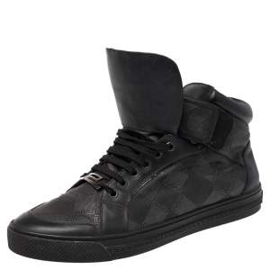 Versace Black Monogram Nylon and Leather Lace High Top Sneakers Size 41