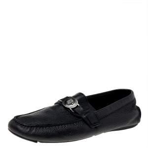 Versace Black Leather Medusa Slip On Loafers Size 44