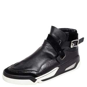Versace Black Leather And Suede Buckle Detail High Top Sneakers Size 45
