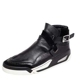 حذاء رياضي فيرساتشي سويدي وجلد أسود مزين إبزيم مرتفع من أعلى مقاس 45