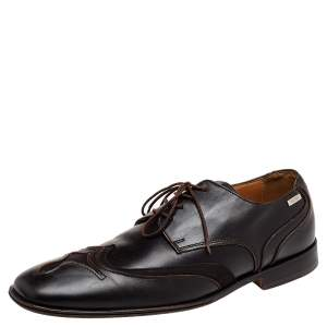Versace Brown Leather Lace Up Derby Size 41