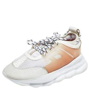 Versace White/Grey Mesh And Nubuck Leather Chain Reaction Sneakers Size 44