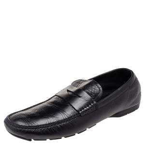 Versace Black Leather Penny Slip On Loafers Size 45