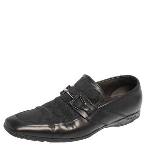 Versace Black Leather And Fabric Pointed Square Toe Loafers Size 40