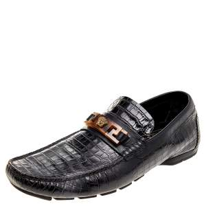 Versace Black Croc Embossed Leather Medusa Loafers Size 42