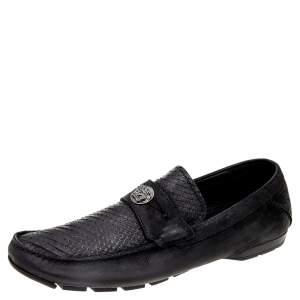Versace Black Nubuck Leather and Python Medusa Loafers Size 41