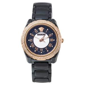 Versace Black Ceramic Rose Gold Stainless Steel Diamonds DV One Glamour 63Q Women's Wristwatch 34 mm