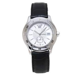 Versace Off-White Stainless Steel Embossed Leather Hurricane ULQ 99 Men's Wristwatch 36MM