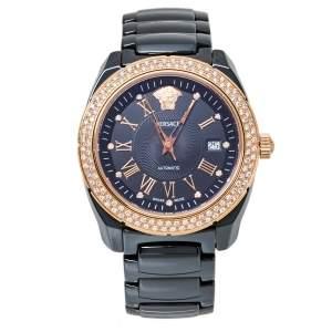 Versace Black Ceramic Gold Plated Stainless Steel Diamonds DV One Glamour 63Q Men's Wristwatch 41 mm