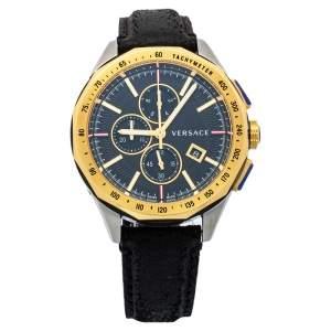 Versace Black Two Tone Stainless Steel & Leather Glaze VEBJ00218 Men's Wristwatch 44mm