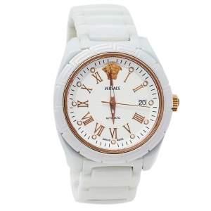ساعة يد رجالية فيرساتشي دي في وان 01أيه سي1 ستانلس ستيل سيراميك أبيض 41 مم