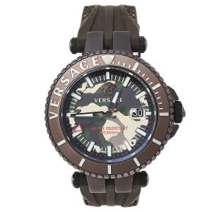 Versace Brown Ion Plated Stainless Steel Rubber V-Race VAK060010 Men's Wristwatch 46 mm