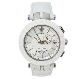 Versace Silver Stainless Steel Leather V-Race GMT 29G9S1D001S001 Men's Wristwatch 46 mm