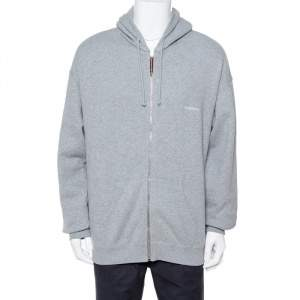 Vetements Grey Cotton Elbow Cutout Detail Zip Front Hoodie L