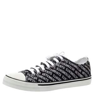 Vetements Black/White Logo Print Canvas Low Top Sneakers Size 43