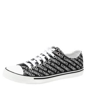 Vetements Black/White Logo Print Canvas Low Top Sneakers Size 42