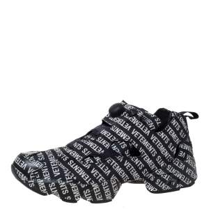 Vetements X Reebok Black Monogram Nylon Instapump Fury Sneakers Size 42.5