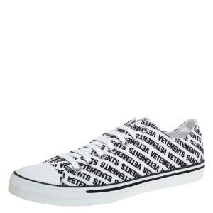 Vetements White/Black Logo Print Canvas Low Top Sneakers Size 44