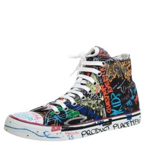 Vetements Black Graffiti Canvas High Top Sneakers Size 41
