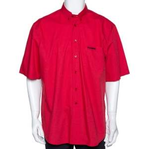 Vetements Red Embroidered Cotton Button Down Short Sleeve Shirt XL