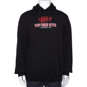 Vetements Black Cotton Graphic Print Oversized Hoodie S
