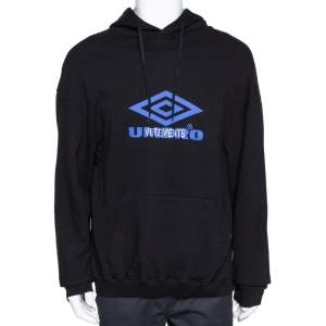 Vetements X Umbro Black Logo Print Cotton Oversized Hoodie S