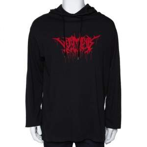 Vetements Black Printed Cotton Jersey Hooded Sweatshirt XS