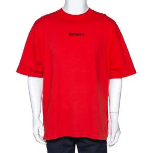 Vetements Orange Cotton Logo Print Oversized T Shirt M