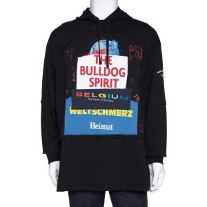 Vetements Black Knit 'Bulldog Spirit' Patchwork Hoodie XS