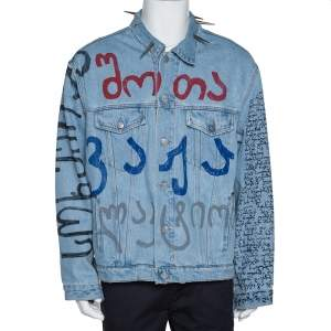 Vetements Blue Printed Denim Spiked Oversized Jacket M