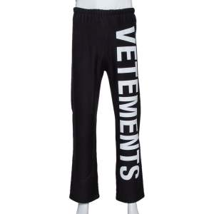 Vetements Black Cotton Knit Logo Printed Sweatpants M