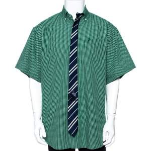 Vetements Green Checked Cotton Tie Trim Oversized Shirt M